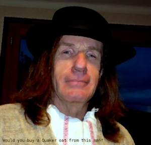 Simon Oliver as a Quaker oat